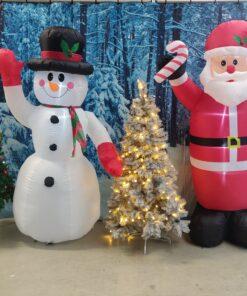 Opblaasbare kerstman met sneeuwpop